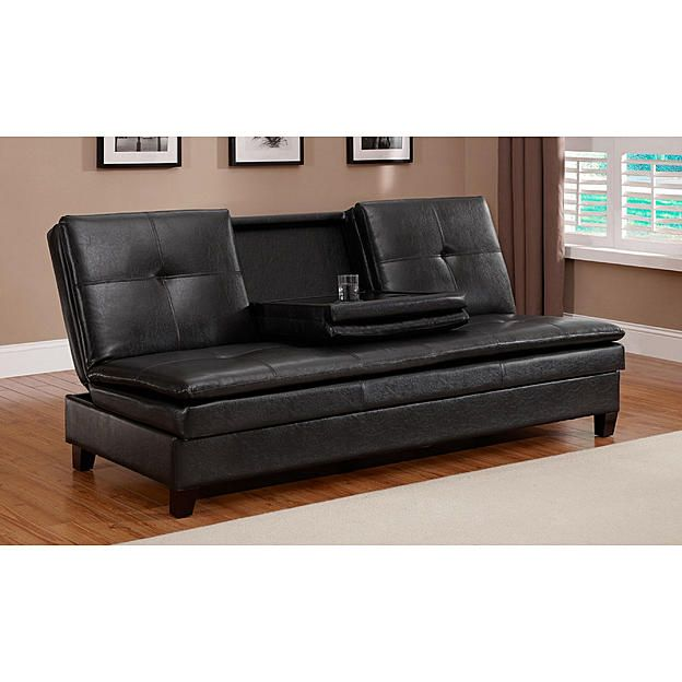 Jaclyn Smith Brown Dylan Faux Leather Futon 3 Apartment