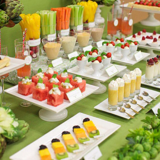 Fruit And Vegetable Dessert Table Healthy Party Snacks Veggie
