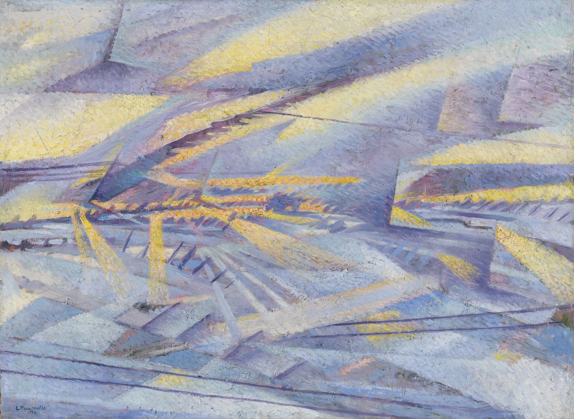 Leonardo Dudreville  1885 - 1975  TRAVERSANDO LA PIANURA PADANA SOTTO LA NEVE  SIGNED AND DATED 1914; SIGNED, TITLED AND DATED 1914 ON THE REVERSE, OIL ON CANVAS