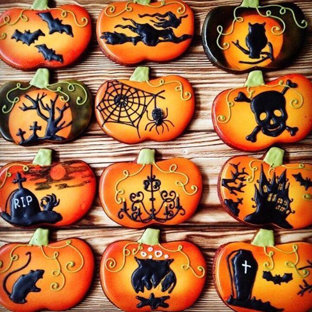 Готовимся к #хэллоуин  #НеслучайноеПеченье #пряникиназаказ - halloween pumpkin cookies decorating
