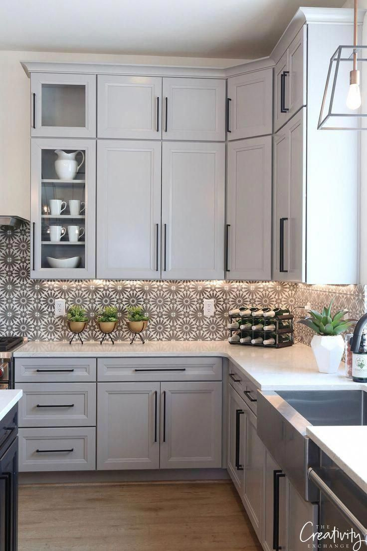 Kitchen cabinets painted with Benjamin Moore Shale #kitchencabinets #paintingkitchencabinets