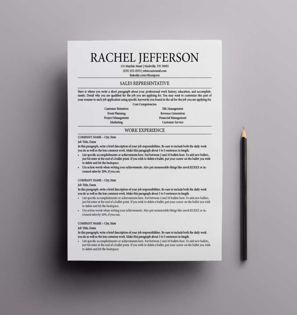 How To Make A Resume In Microsoft Word Pleasing Resume Template  The Rachel Resume Design Cv Template Curriculum .