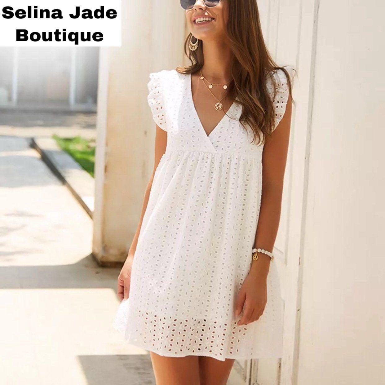 Celeste Eyelet Dress White Selina Jade Boutique White Loose Dress White Dress Summer Lace Dress Casual [ 1242 x 1242 Pixel ]