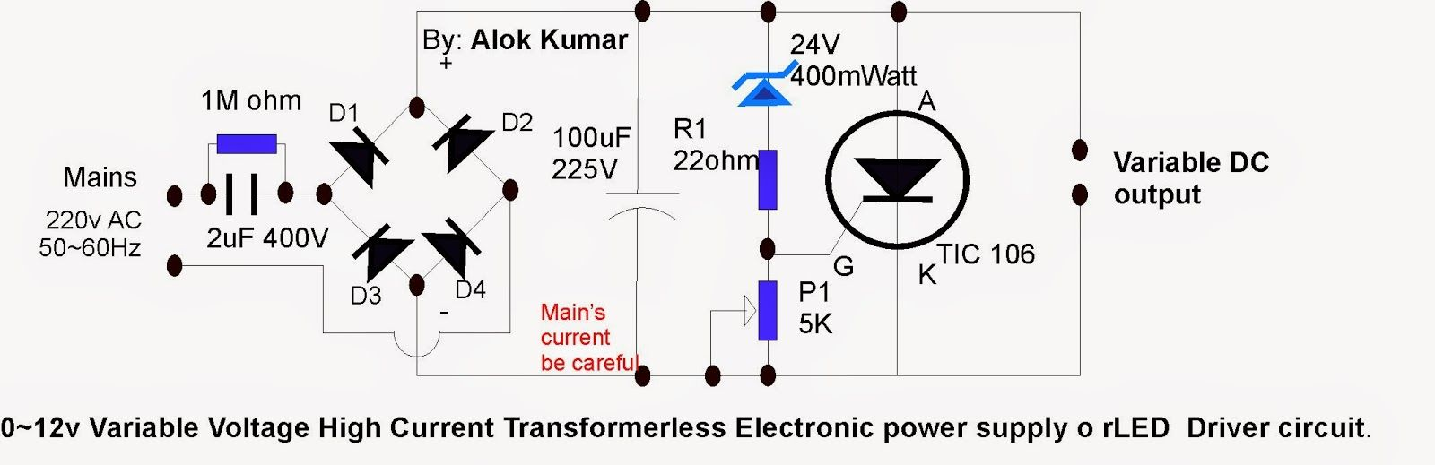Electronic Circuits, Transformerless Power Supply, LED Drivers, Battery  chargers, Solar Circuits: How to make 0 to 12v Variable High Current  Transformerless ...