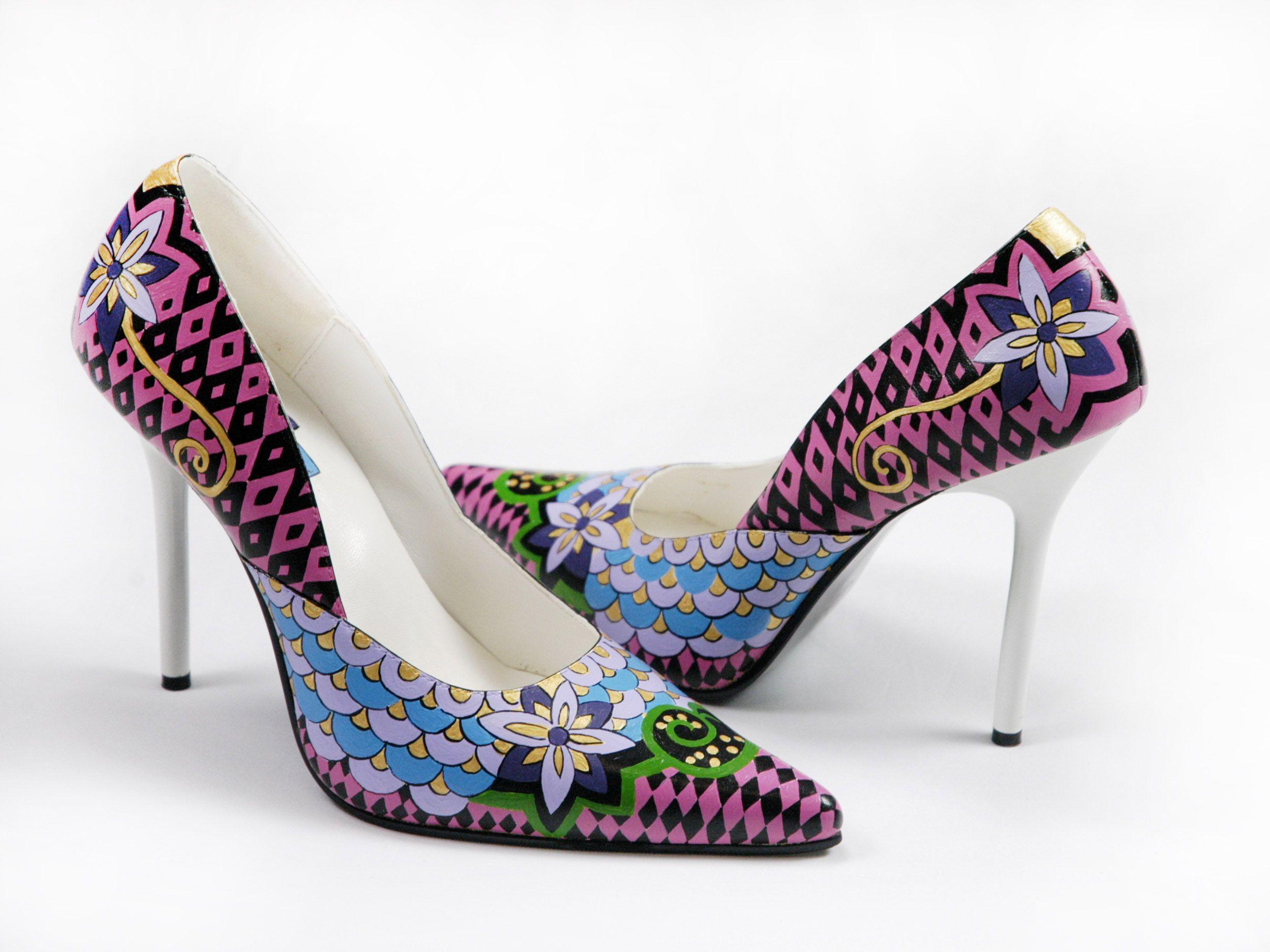 090927f5b8626b Hand+Painted+Leather+Pumps Geometric-Flower+inspiration! Maripe+Shoes