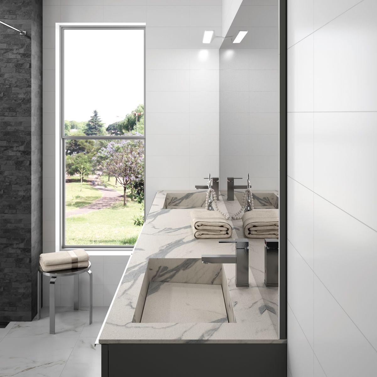 Plan vasque sur mesure marbre calacatta  Meuble salle de bain