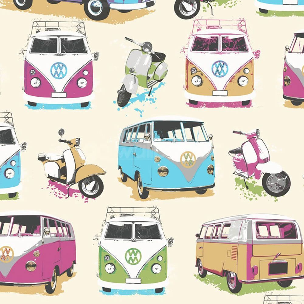 Muriva Vw Campervans And Scooters Wallpaper This Cool Vw Campervans And Scooters Wallpapermixes Contemporary With R Campervan Wallpaper Vw Campervan Vw Camper