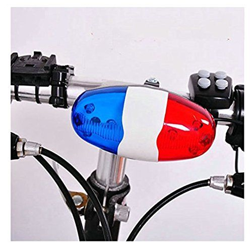 Bicycle Bell 6LED 4 Tone Bike Police Light Kids Accessories for Bike Scooter
