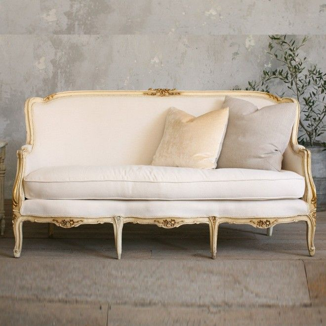Vintage Louis Xv Cream And Gold Settee French Sofa Vintage