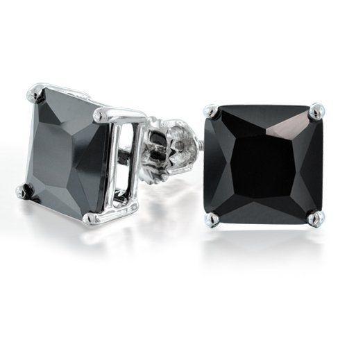 3236c0976 Bling Jewelry CZ Princess Cut Black Sterling Silver Screw Back Stud Earrings  5mm Bling Jewelry. $19.99. Mens square stud earrings. 5mm black cubic  zirconia. ...