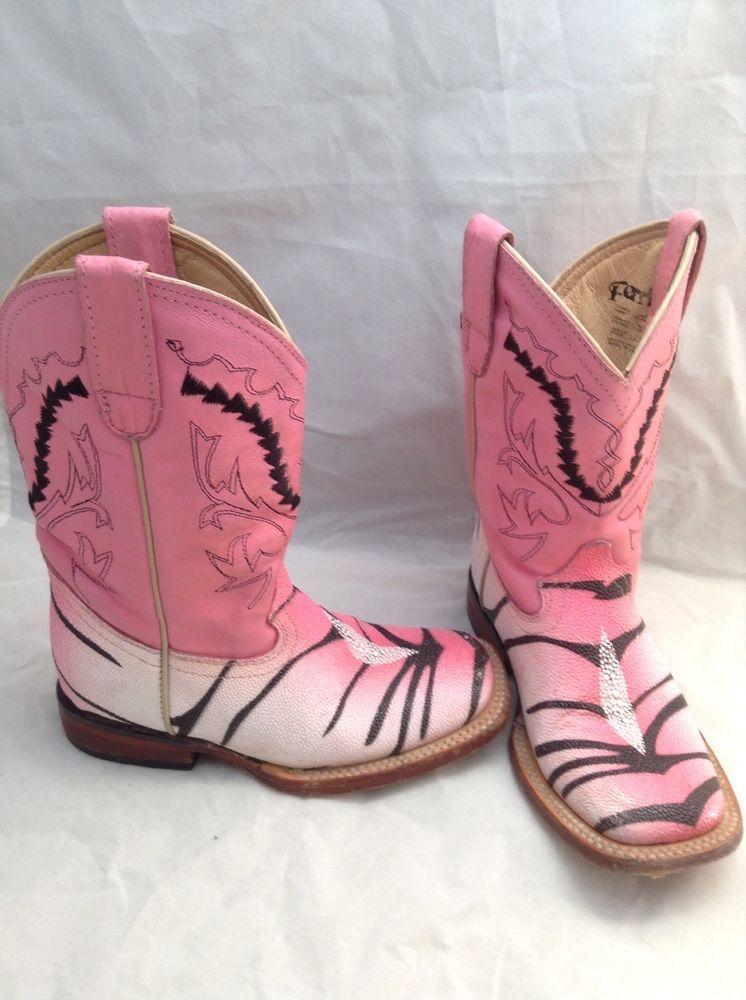 917ce567821 Cowboy Western Boots Ferrini Girl Stingray/tiger Print Size 10.5 B ...