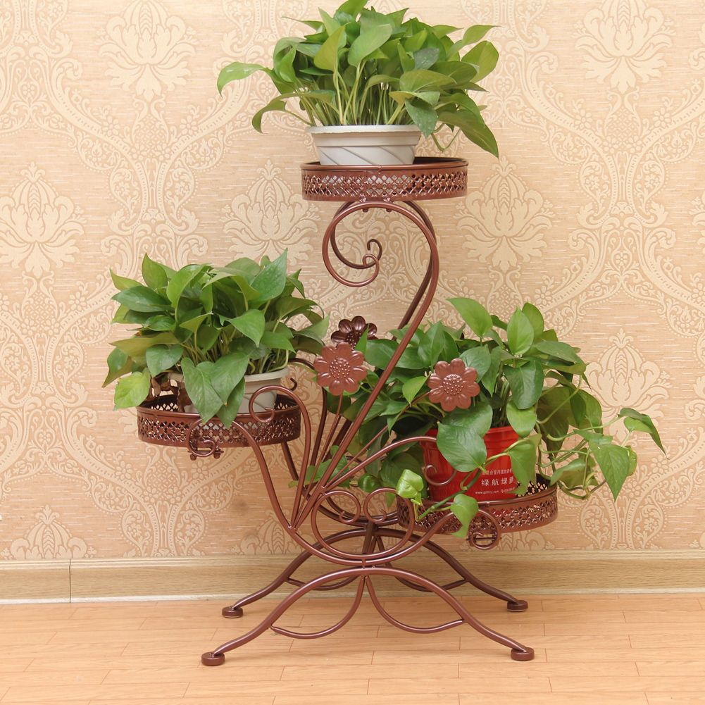 3 Tier Bronze Metal Floor Standing Pot Plant Stand Balcony Flower Planter Beauty Balcony Flowers Plant Stand Flower Planters