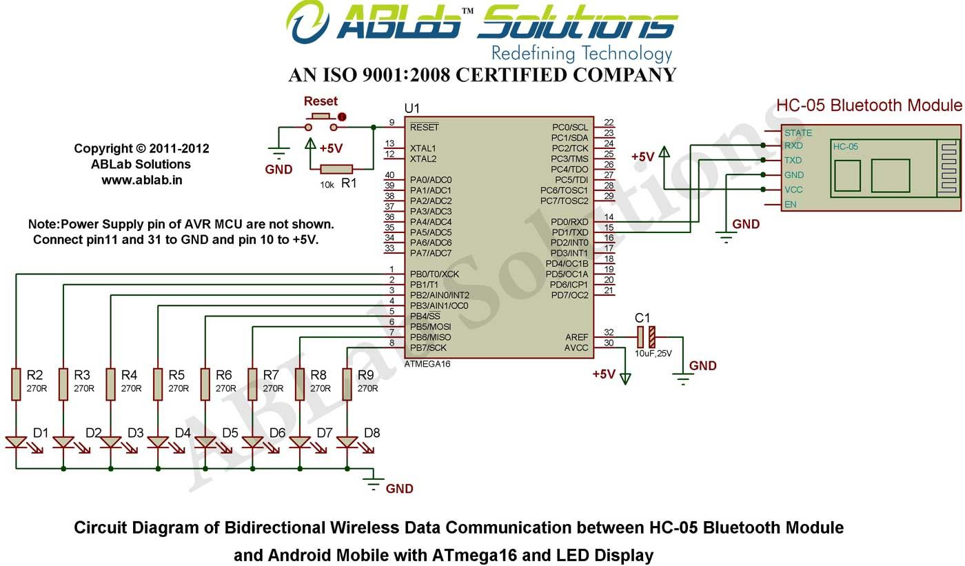 Bidirectional Wireless Data Communication Between Hc 05 Bluetooth Module And Android Mobile With Atmega16 And Le Microcontrollers Circuit Diagram Communication
