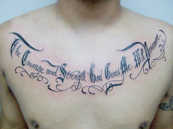 cursive olde english font tattoo chest 16