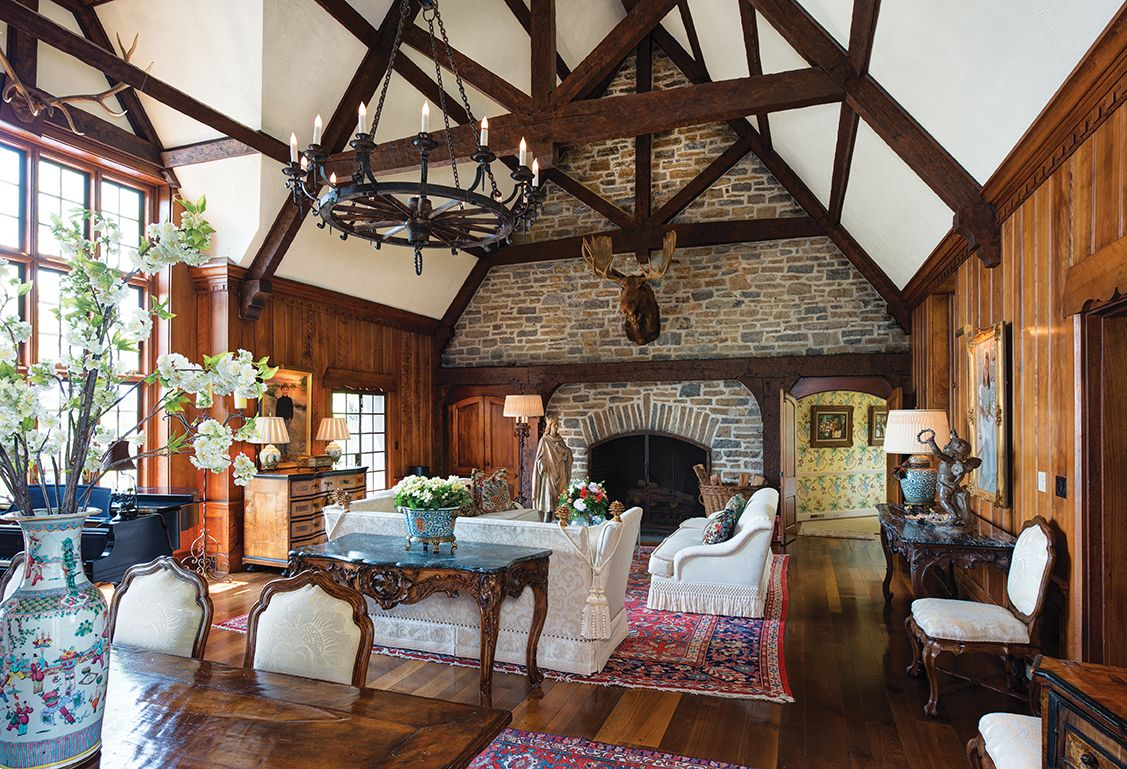 Traditional Comforts A Former Hunting Lodge And The Memories Inside Cincinnati Magazine Large Rustic Chandeliers Rustic Lodge Lodge Style