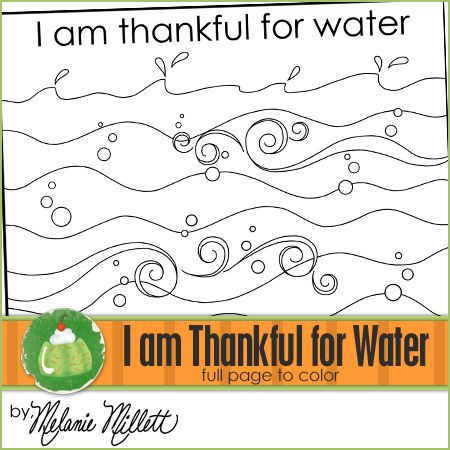 I Am Thankful For Water Printable Coloring Page Sunbeams