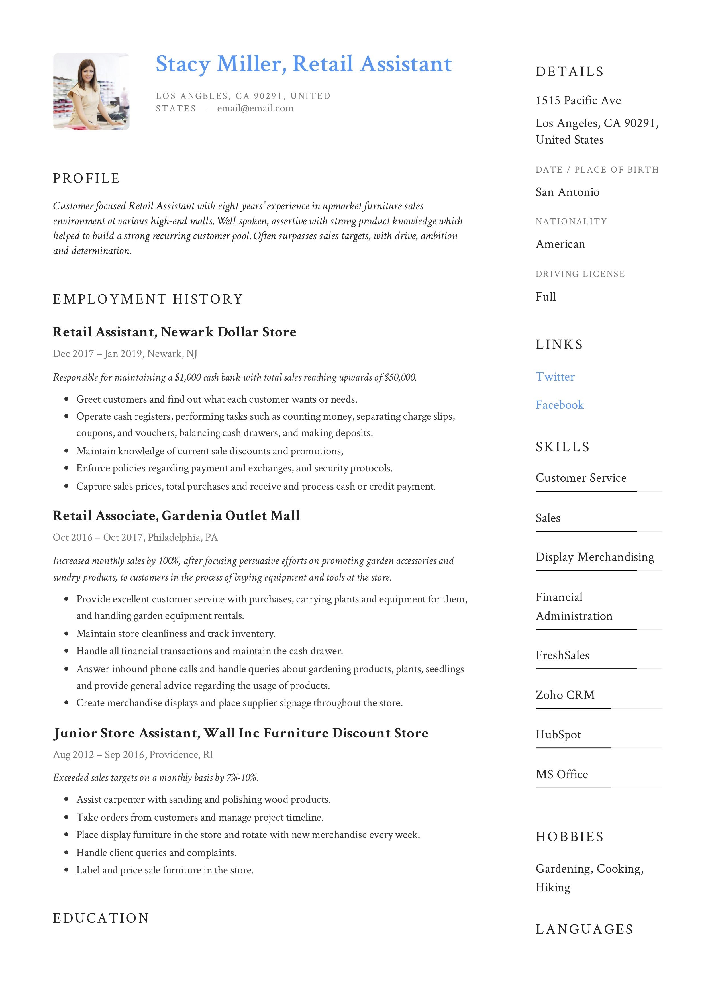 Modern Retail Assistant Resume, template, design, tips