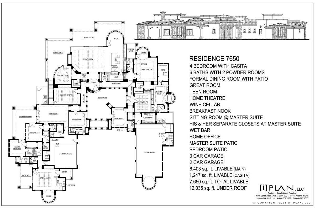 Custom Residential Home Designs By I Plan Llc Floor Plans 7 501 Sq Ft To 10 000 Sq Ft Architectural Floor Plans Single Level Floor Plans House Floor Plans
