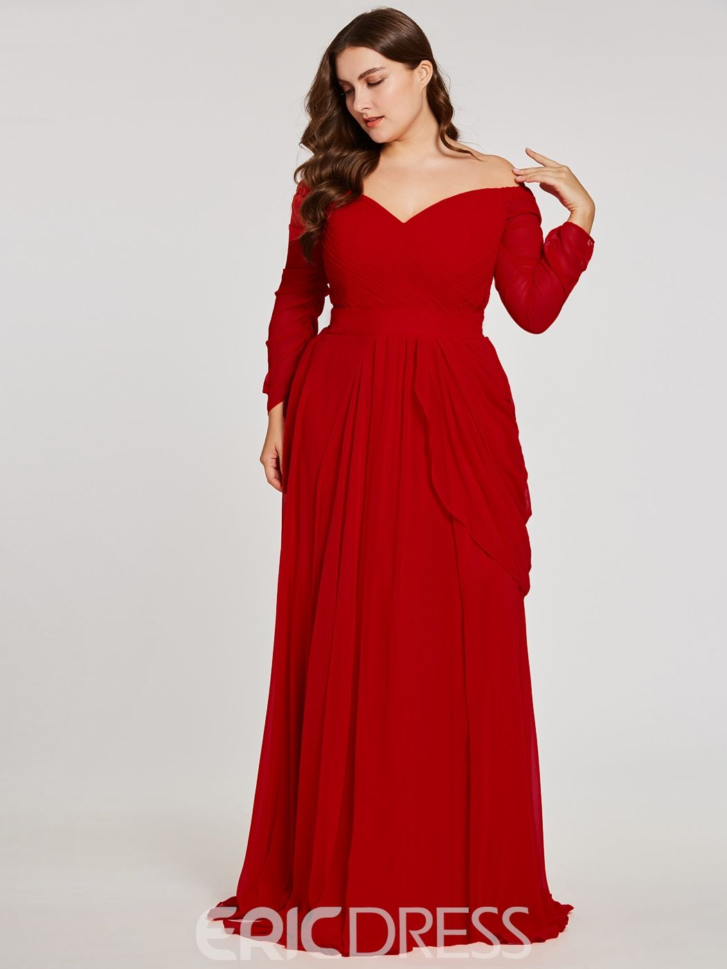 Plus Size OfftheShoulder Long Sleeves Evening Dress Long sleeve