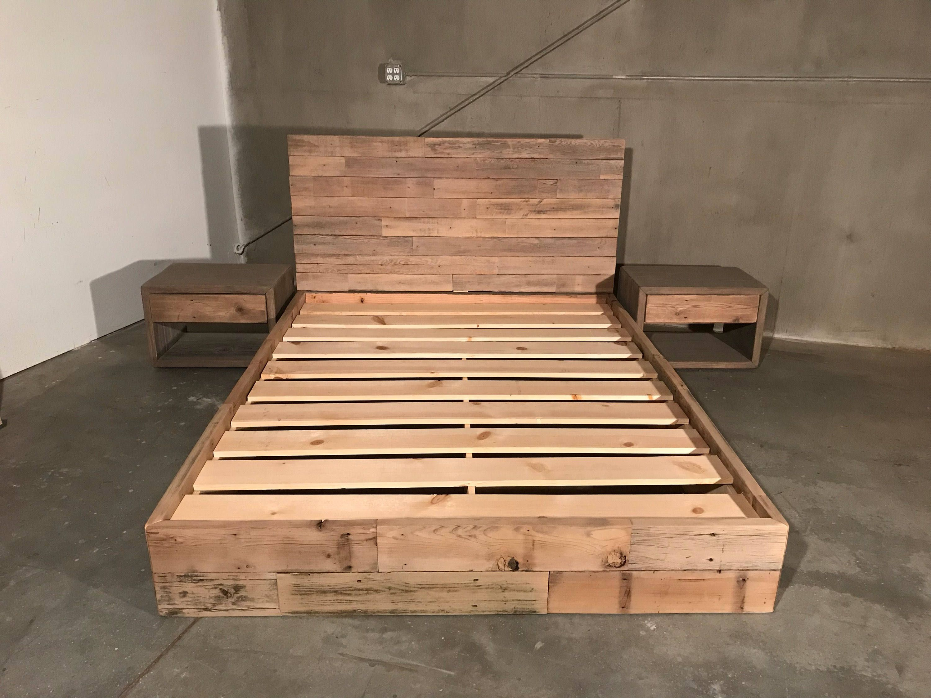 The New York Queen Reclaimed Patched Wood Bed Headboard Etsy