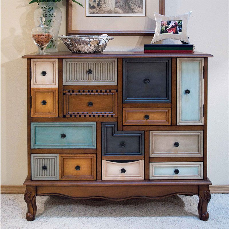 Asymmetrical Wooden Accent Cabinet Storage Birch Cherry