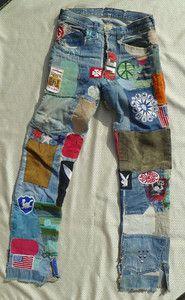 E2 Vtg 70s Button Levi's Big 60s Selvage Patchwork Jeans Hippie TKJ3Fcl1