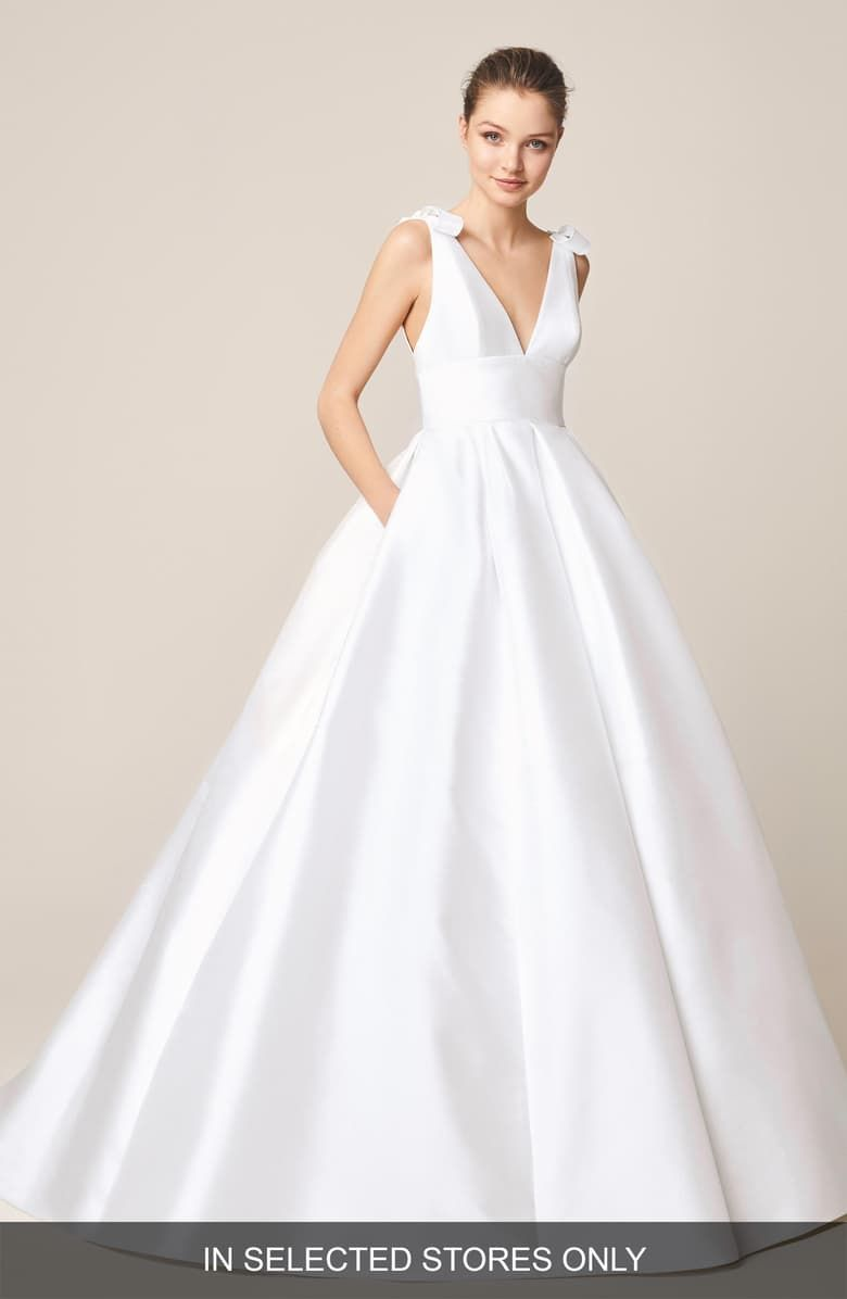 Free Shipping And Returns On Jesus Peiro Satin V Neck Bow Detail Wedding Dress At Nordst Princess Wedding Dresses Designer Wedding Dresses Wedding Dress Trends