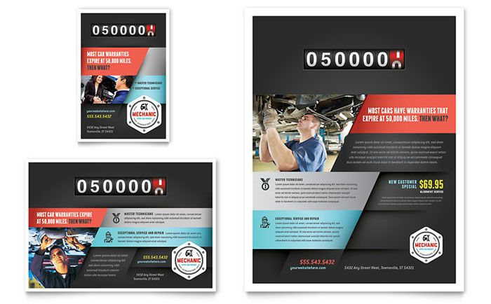 Auto Mechanic Flyer and Ad Design Template by StockLayouts shop - Gym Brochure Templates