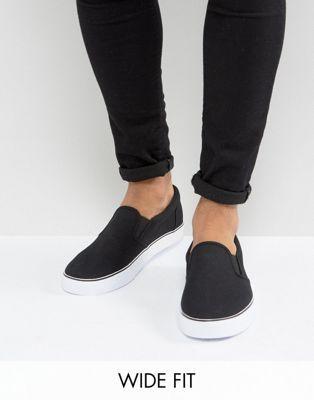 ASOS Wide Fit Slip On Sneakers In Black