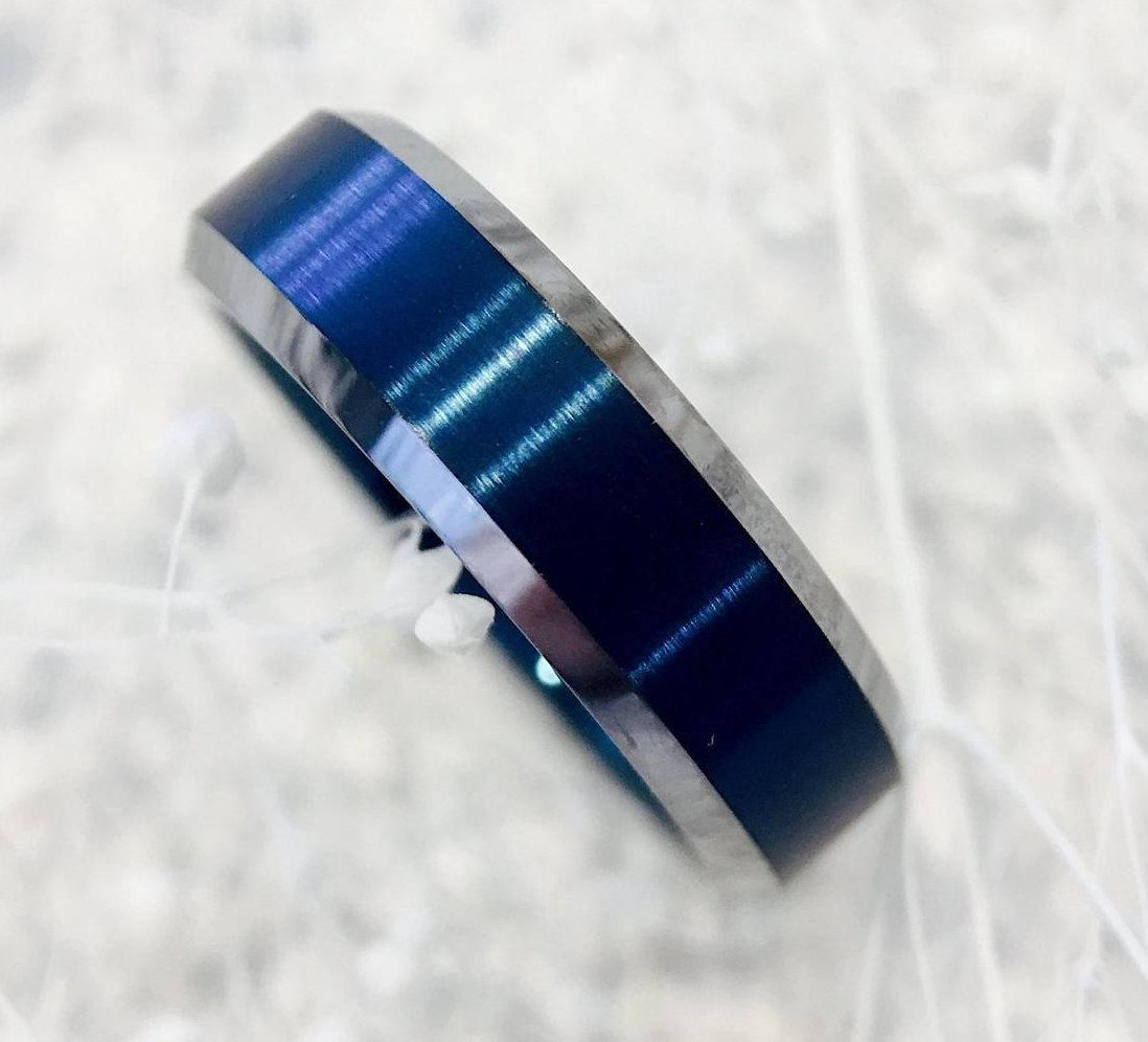 Blue Wedding Bands, Mens Blue Rings, Mens Engagement Rings, Blue Tungsten  Ring,