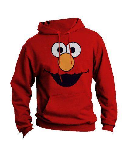 106770dcf Sesame Street Adult Red Elmo Face Sweatshirt with Hoodies Small Sesame  Street http://