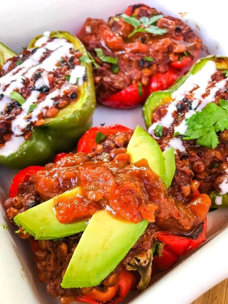 Vegan Lentil Taco Stuffed Peppers Are Bell Peppers Stuffed With Lentils Cooked In A Taco Tomato In 2020 Stuffed Peppers Vegetarian Mexican Recipes Taco Stuffed Peppers