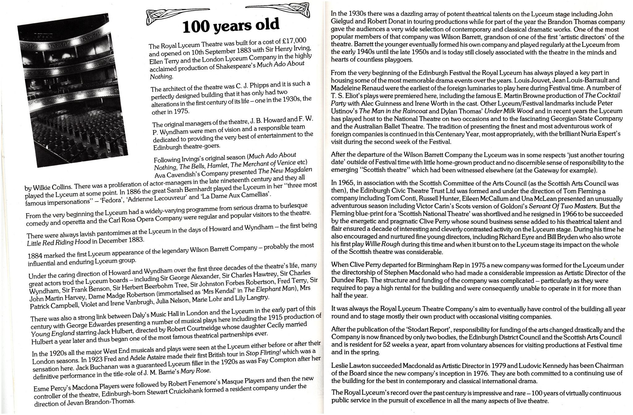 https://flic.kr/p/rysmTS | Lyceum 100 | Potted History of Royal Lyceum Theatre 1883 - 1983  Reproduced from Centenary Season Programme
