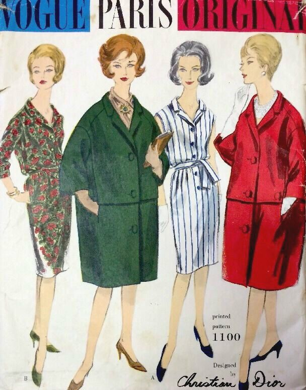 1960s Vintage VOGUE Sewing Pattern B34 COAT & DRESS (1383) Christian ...