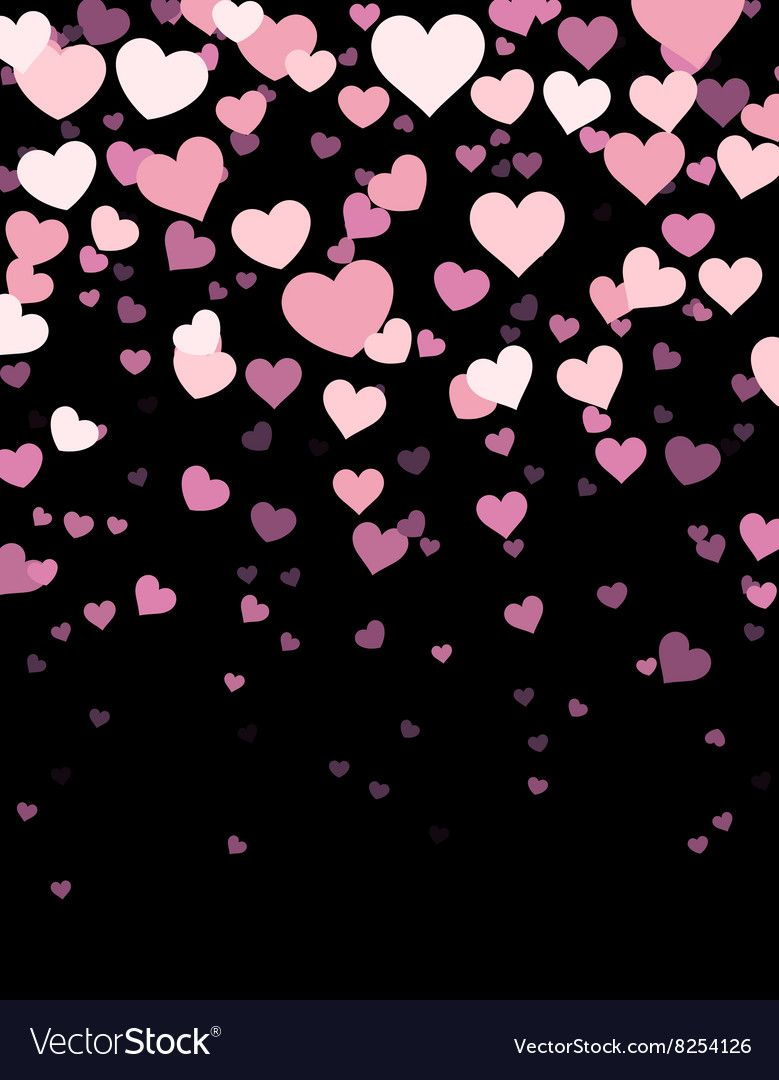 Black Background With Hearts Vector Image On With Images Pink