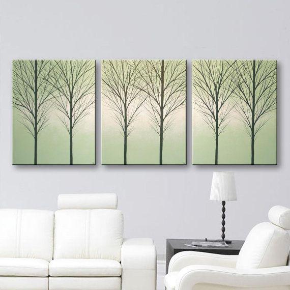 Canvas Art Sage Wall Home Decor Original Tree Living