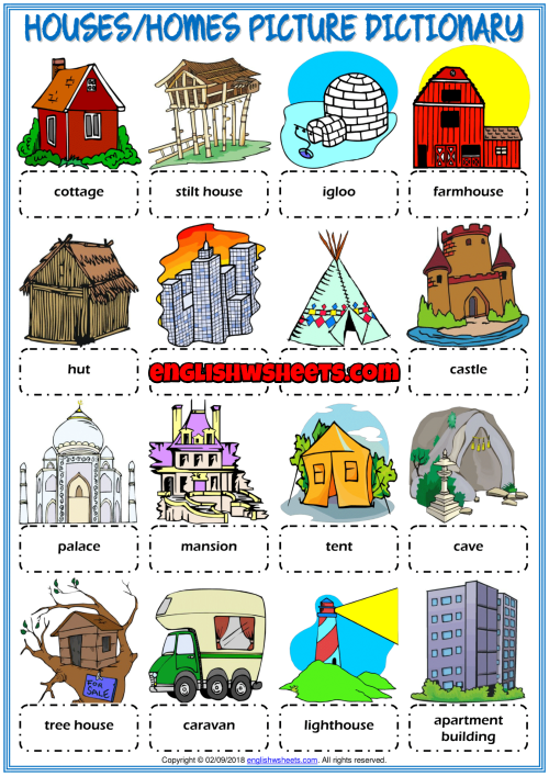Types Of Houses Esl Picture Dictionary Worksheet For Kids In 2020 Worksheets For Kids Teach English To Kids Nursery Rhymes Activities