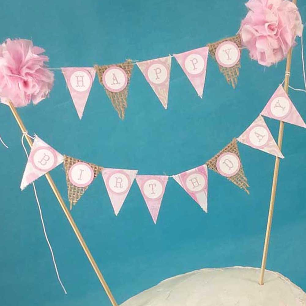 Shabby Chic Cake Banner Pink Happy Birthday Topper Bunting L312