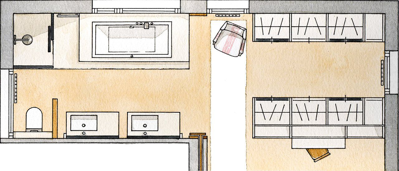 Un ba o abierto al dormitorio y al vestidor for Plano de pieza cocina y bano