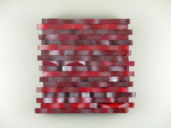 Wall Sculpture Wooden Wall Hanging Red by TheInspiredDragonfly