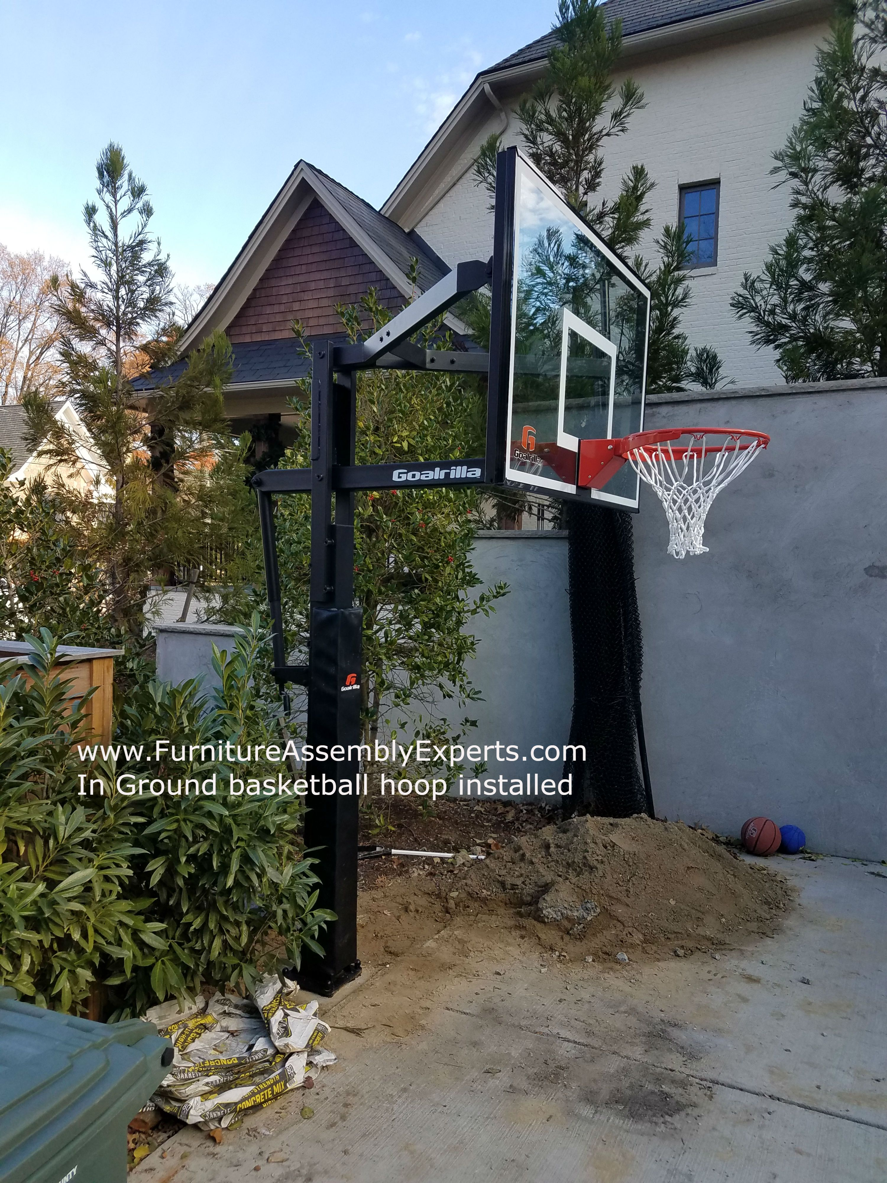 In Ground Portable Basketball Hoop Installation Completed In