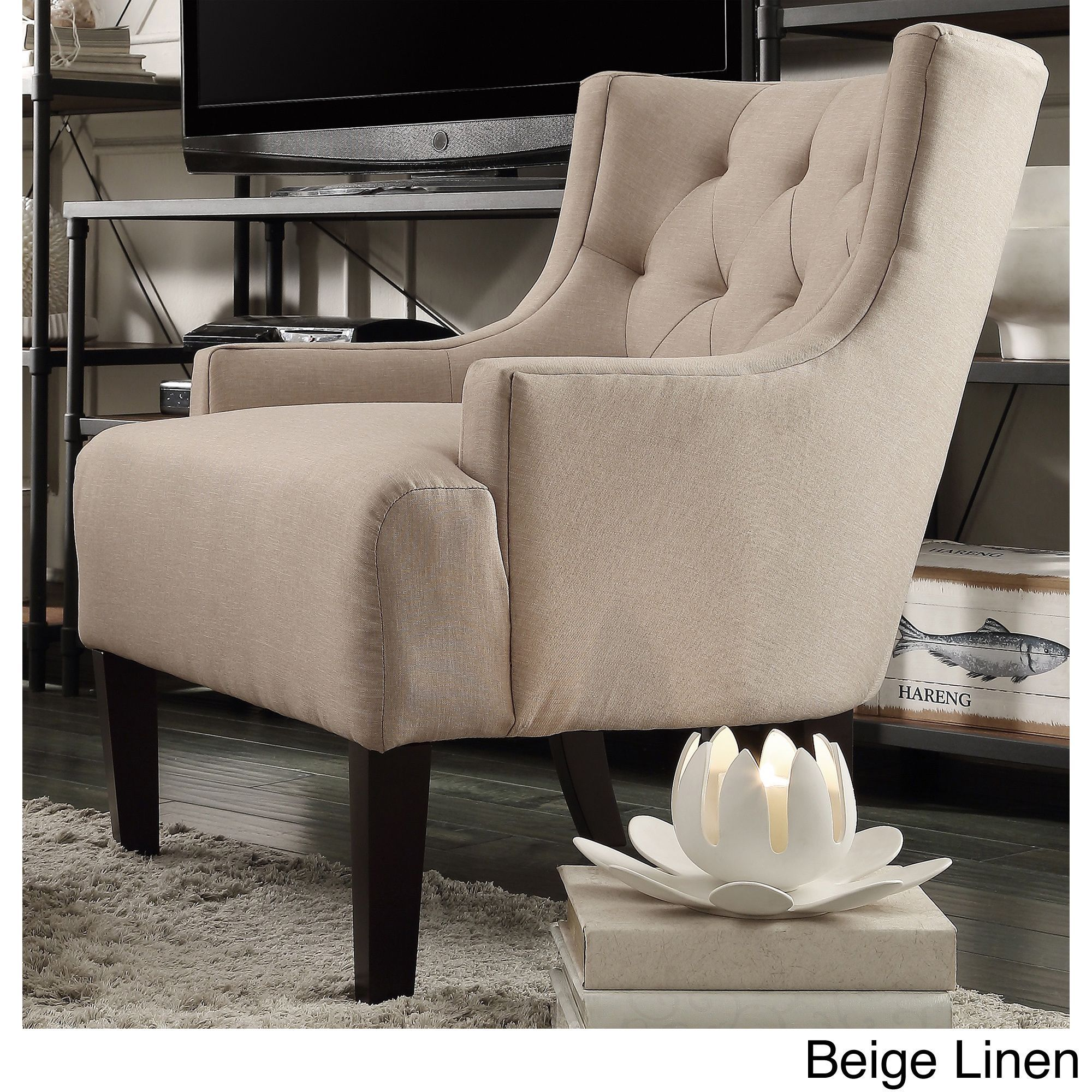 Tess Wingback Tufted Linen Upholstered Club Chair by iNSPIRE Q Classic by  iNSPIRE Q