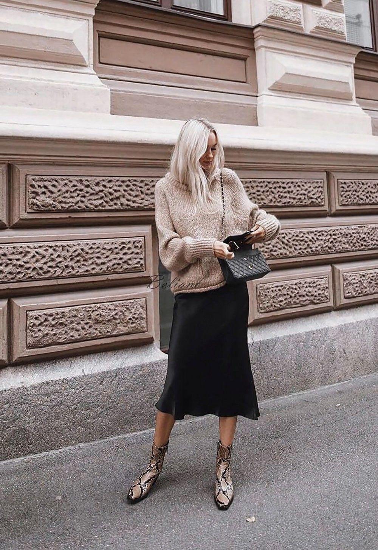 a2f7dba97e062 Silk skirt midi long fall look black a-line skirt outfit Silk slip ...