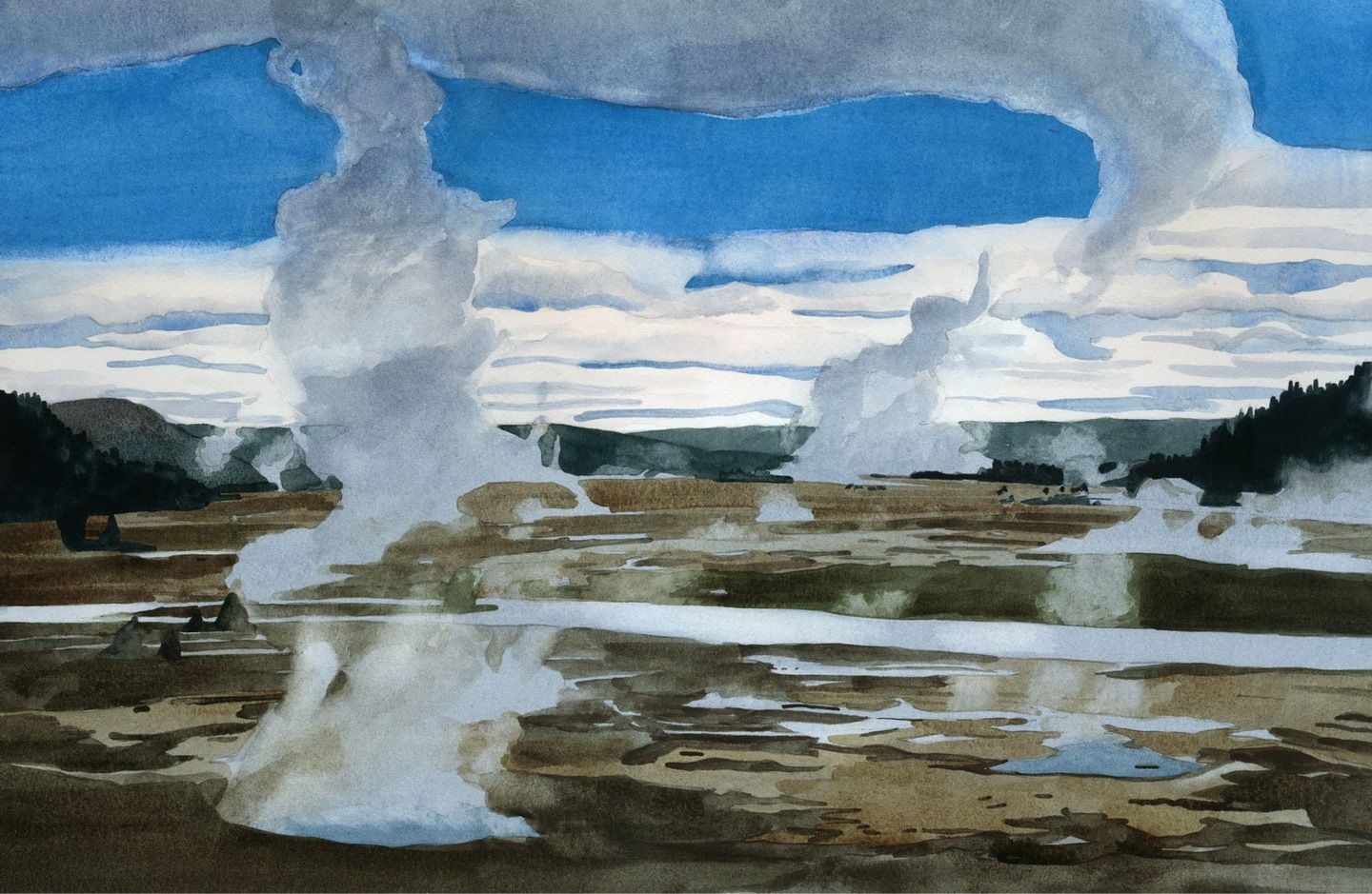 Morning, Yellowstone, watercolor by Eva Bartel