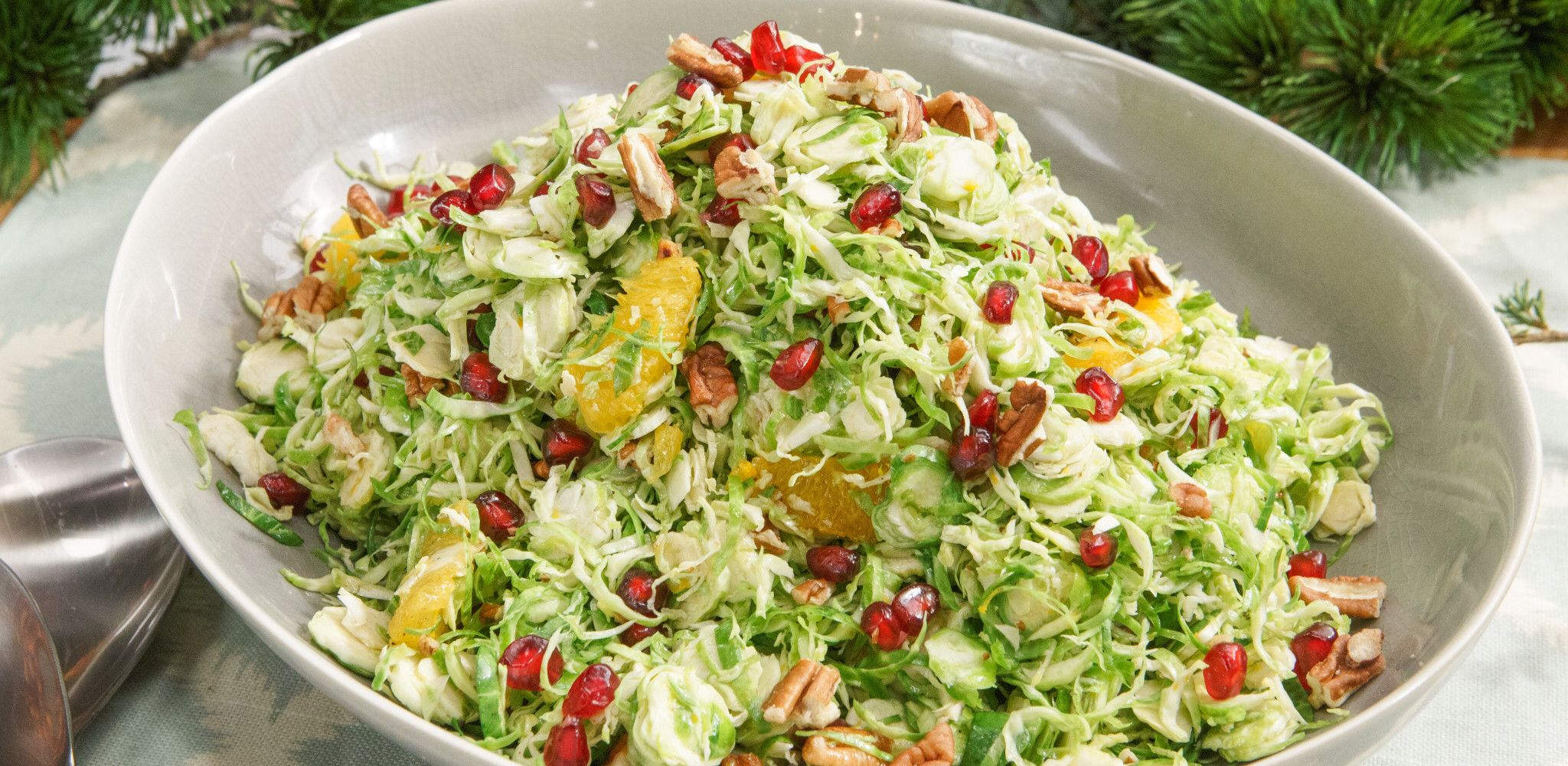 Shaved Brussels Sprouts with Pomegranate Orange Vi