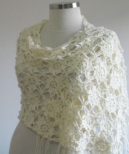 Crochet Lace Wedding Garter Pattern: Ivory Wedding Shawl Love Flower Flowers Lace For Wedding