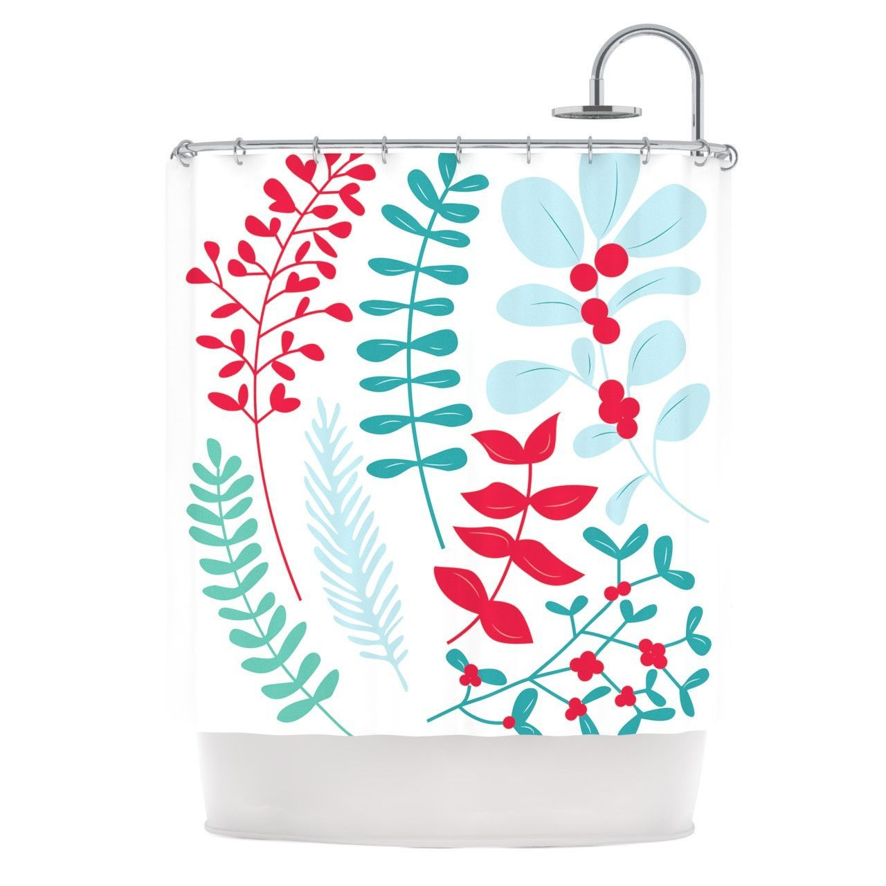 red and teal shower curtain. KESS Original  Deck the Hollies Red Teal Shower Curtain home