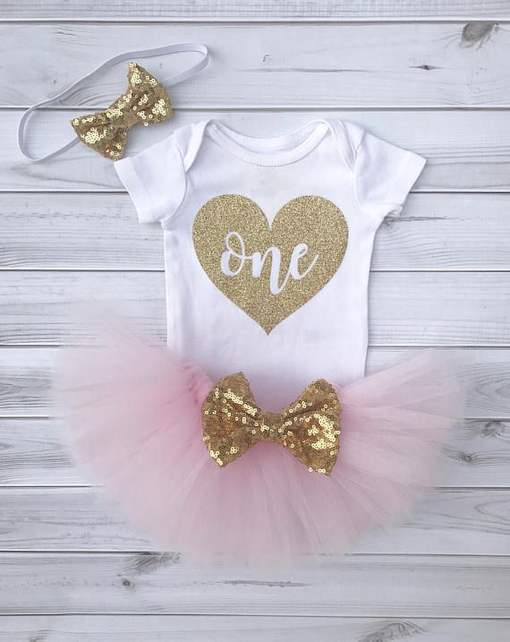 f83741631 Pink and Gold Personalized First Birthday Outfit for Baby Girls. Headband,  Tutu, and Bodysuit Set. P