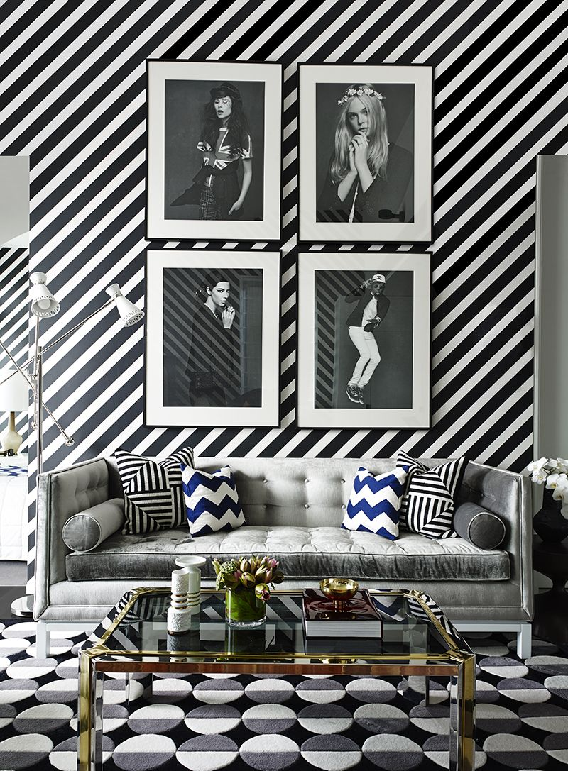 black and white wallpaper ideas for living room decoration themes graphic to the max diagonal stripe wave rug a color scheme