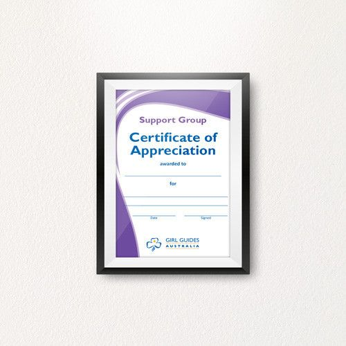 Support Group Appreciation Certificate A4 Certificate And Products